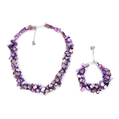 Shop LC Pearl Braided Shell Purple Bracelet Necklace Set Costume - Medium