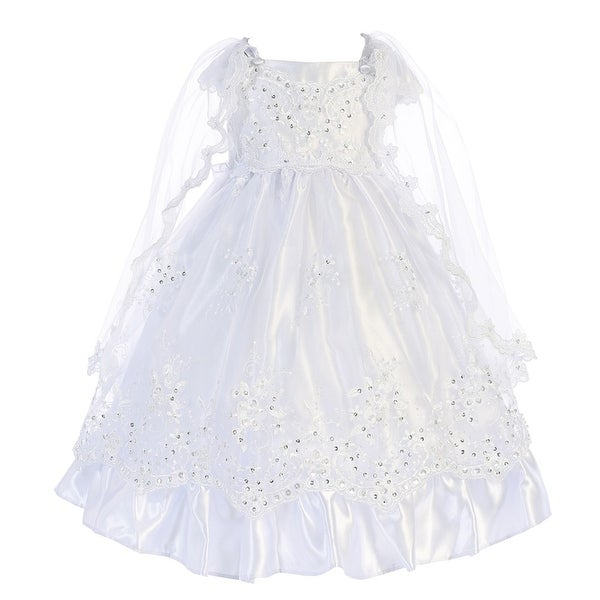 Angels Garment Baby Girls White Satin Embroidered Organza Baptism Dress 6-24M