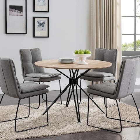 Silver Orchid Alan Metal and Glass Round Dining Table