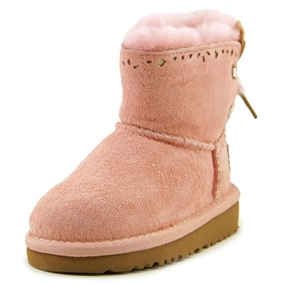 Ugg Australia Dixi Flora Toddler Round Toe Suede Pink Winter Boot