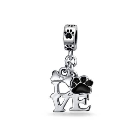 Black Dog Cat Puppy Kitten Paw Print BFF Pet Dangle Charm Bead Silver