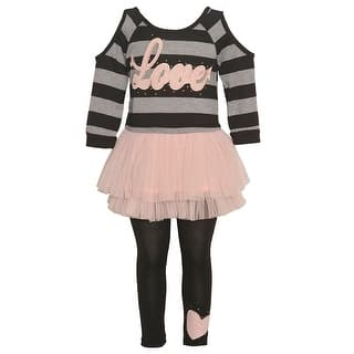 """Girls Blush Grey Stripe """"Love"""" Cold Shoulder Top 2 Pc Legging Outfit https://ak1.ostkcdn.com/images/products/is/images/direct/66563f560103baaf47d35645a5d3f94f4a8fb547/Girls-Blush-Grey-Stripe-%22Love%22-Cold-Shoulder-Top-2-Pc-Legging-Outfit.jpg?impolicy=medium"""
