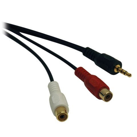 Tripp Lite P315-06N 3.5 mm Mini Stereo to 2 RCA Audio Y Splitter Adapter Cable (M/F) 6 in.