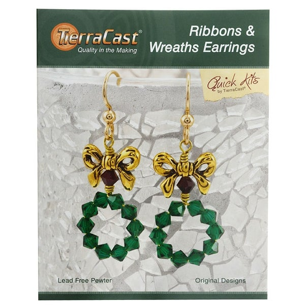 TierraCast Kit, Holiday Ribbons & Wreaths Earrings 2 Inches, 1 Kit, Gold, Green, Siam