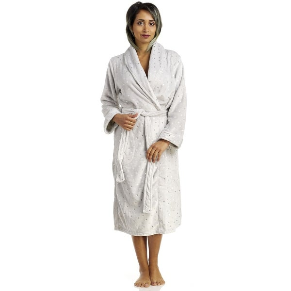 0b1cd3ba88 Shop Body Touch Women s Foil Printed Lux Plush Robe - Grey Star - Free  Shipping On Orders Over  45 - Overstock - 18258218