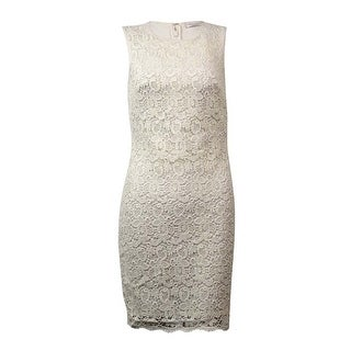 Calvin Klein Women's Sleeveless Floral Lace Stretch Sheath Dress - Cream