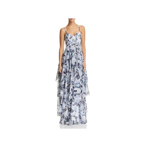 Fame And Partners Womens Catherine Evening Dress Tiered Floral