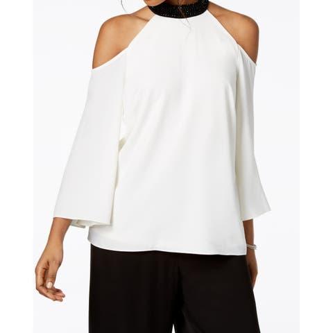 MSK Women's Blouse Ivory White Size Large L Cold Shoulder Choker
