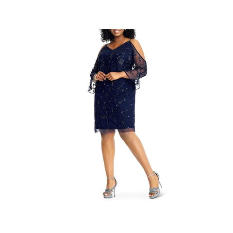 Adrianna Papell Womens Plus Cocktail Dress Cold Shoulder Embellished