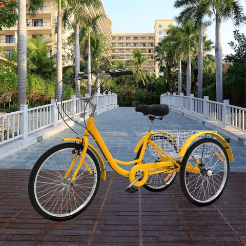 Adult Tricycles 24/26 inch 7 Speed 3 Wheel Bikes Adult Trikes Bicycles with Shopping Basket Yellow