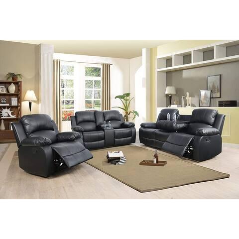 3-Pieces Recliner Sofa Set/w Drop Down Table,Black(2890B)