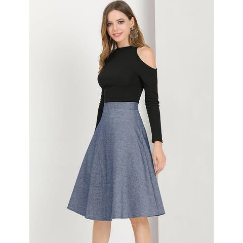 Allegra K Women's Vintage Elastic Waist A-Line Flare Skirt - Dark Blue