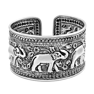 Handmade Elaborate Jungle Elephant Parade Hill Tribe Silver Cuff Bracelet (Thailand)