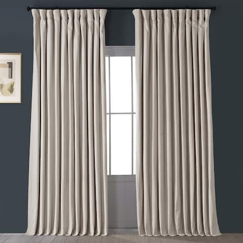 Exclusive Fabrics Ivory Velvet Blackout Extra Wide Curtain Panel