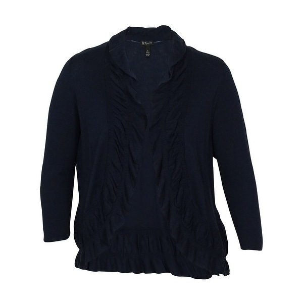 INC International Concepts Women's Ruffle Trim Cardigan - Deep Twilight - 0X