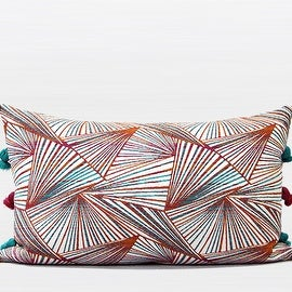 "G Home Collection Luxury Orange Changing Geometric Pattern Tassels Pillow 12""X20"""