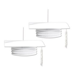 Club Pack of 24 White Grad Cap Paper Lantern Hanging Decorations 9""