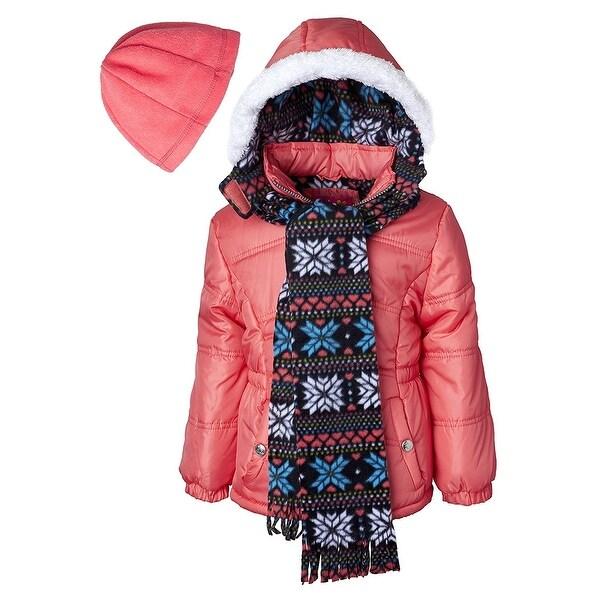 bdd598b2f0fa Shop Pink Platinum Little Girls Hooded Winter Bubble Jacket Coat ...