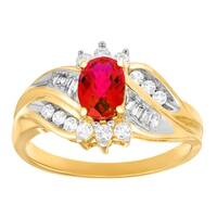 1 1/3 ct Created Ruby and Created White Sapphire Ring with Diamonds in 10K Gold - Red