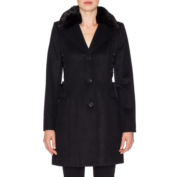 Betsey Johnson Wool Coat with Faux Fur Collar