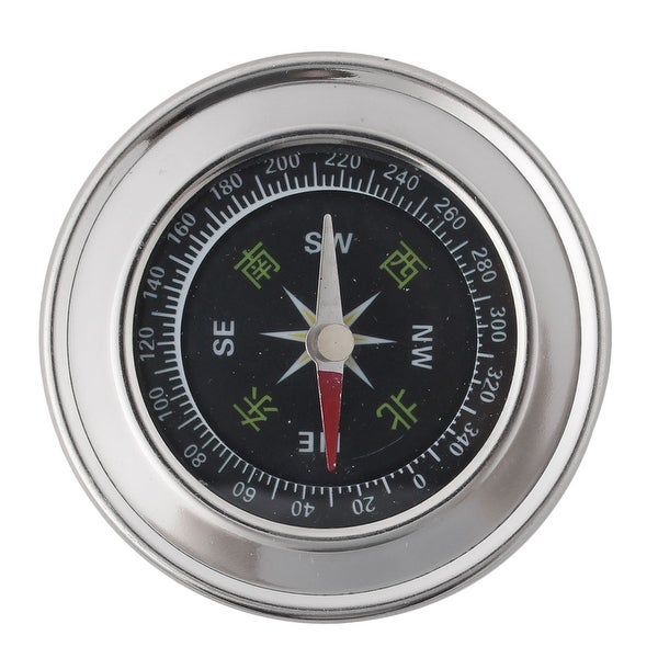 Unique BargainsOutdoor Hiking Camping Portable Round Dial Sensitive Compass Silver Tone 6cm Dia