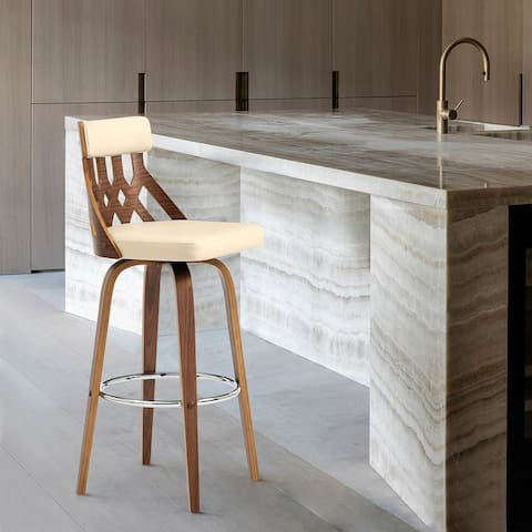 Crux Bar Stool in Faux Leather and Wood