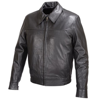 Link to Mens Black Lambskin Leather Bomber Classic Fit Jacket FJ5 Similar Items in Men's Outerwear