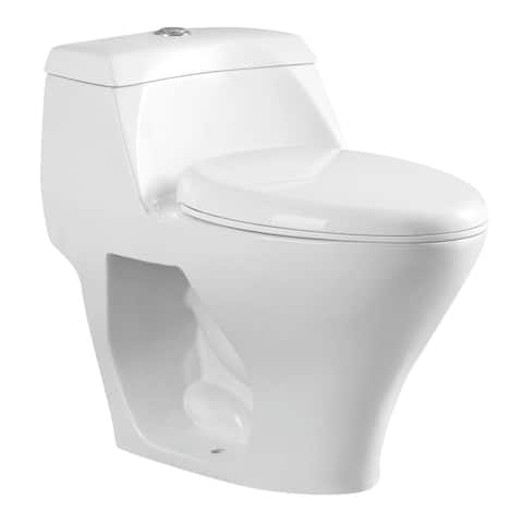 Kingston Brass VWC1993 1.1 GPF One Piece Round Toilet with Top Hand - White