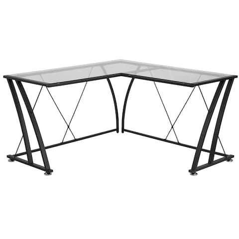 L-Shape Computer Desk with Tempered Glass Top and Metal Frame