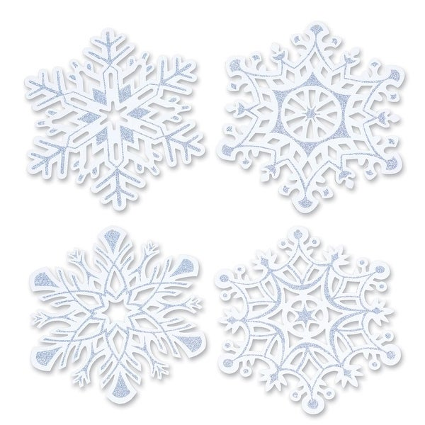 """Pack of 24 Christmas Holiday Glittered Snowflake Cutouts 14"""""""