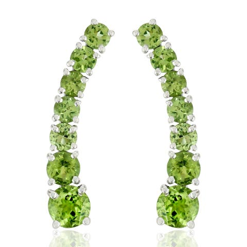 Natural Peridot Ear Climber Earrings 925 Sterling Silver Jewelry