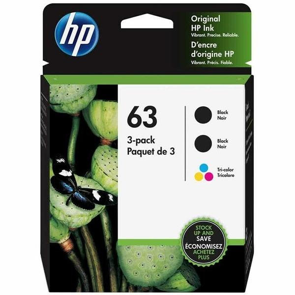 HP 63 3-pack 2 Black/1 Tri-color Original Ink Cartridges (1VW09AN) - black black & color. Opens flyout.