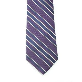 Black Brown 0596 NEW Purple Striped Textured Woven Men's Neck Tie Silk