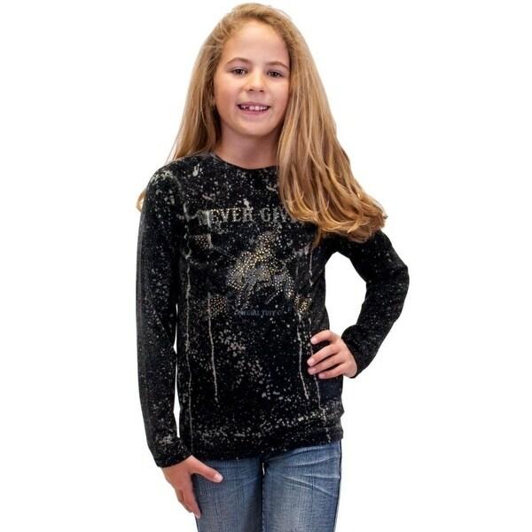 8d4c862df Shop Cowgirl Tuff Western Shirt Girls Long Sleeve Splatter Black - Free  Shipping Today - Overstock - 18521283