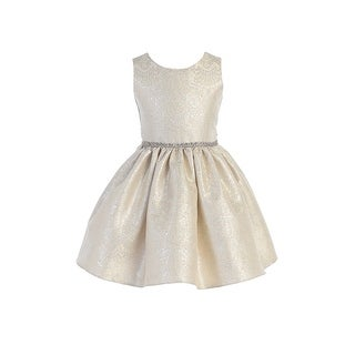 Sweet Kids Girls Silver Ornate Imperial Brocade Christmas Dress