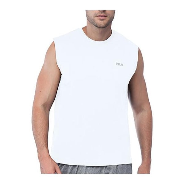 89b57f39e9dc52 Shop Fila Men s Performance Heather Sleeveless Tank White - On Sale - Free  Shipping On Orders Over  45 - Overstock - 10588141