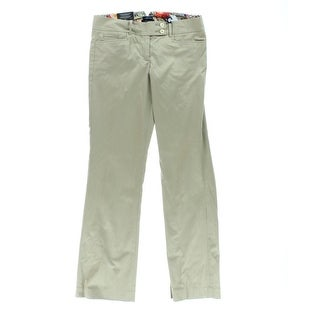 Tommy Hilfiger Womens Reade Flat Front Trousers Khaki Pants - 14