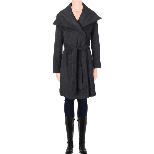 T Tahari Womens Mia Coat Wool Oversized