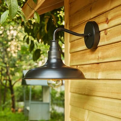 "2PK-1-Light Outdoor Barn Light With Dark Bronze finish - 11.02""x12.76""x10.17"""