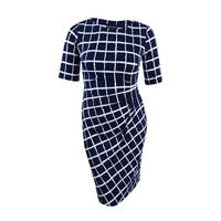 Connected Women's Ruched Printed Sheath Dress (18, Navy) - Navy - 18