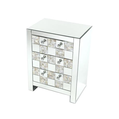 26 inch 3 Drawer Chest with Mirror Inlay, Silver