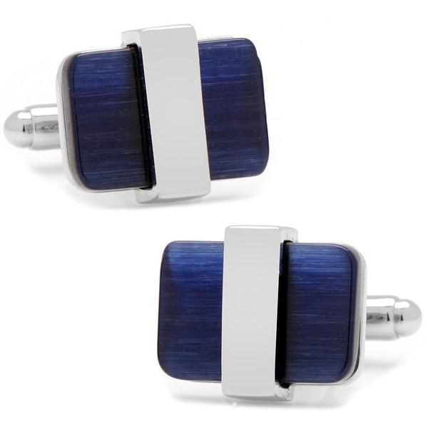 Silver Wrapped Navy Blue Catseye Cufflinks