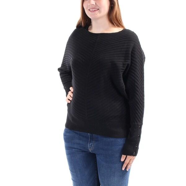 6c8da27bd6498 Shop ALFANI Womens Black Textured Dolman Sleeve Jewel Neck Sweater Size  L  - Free Shipping On Orders Over  45 - Overstock.com - 25637407
