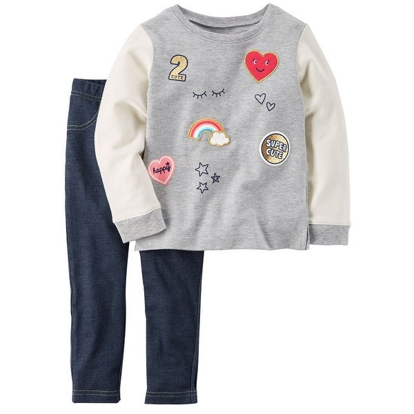 17db4eb2e Shop Carter's Little Girls' 2-Piece Patch Top & Jeggings Set, 4 Kids - Free  Shipping On Orders Over $45 - Overstock - 18303457