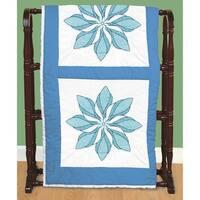 """Stamped White Quilt Blocks 18""""X18"""" 6/Pkg-Floral Pinwheel"""