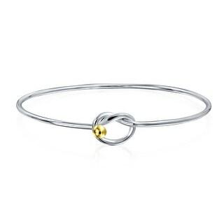 Gold Plated Sterling Silver Love Knot Bangle Bracelet