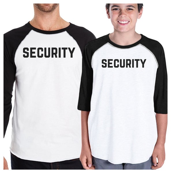 Security Dad and Son Matching Baseball Shirts Funny Graphic Raglan