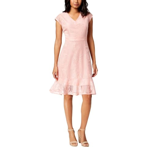 NY Collection Womens Petites Party Dress Floral Print V-Neck