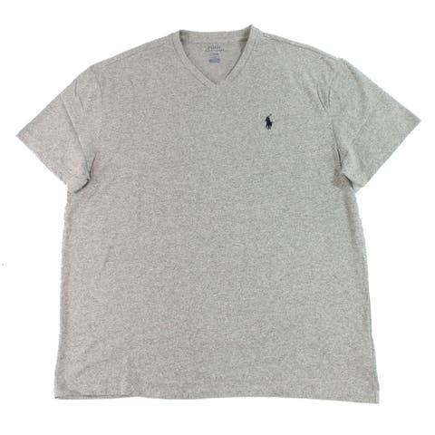 Polo Ralph Lauren Mens T-Shirt Heather Gray Size Medium M V-Neck Tee