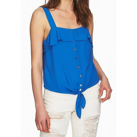 1.State Zen Womens Large Button-Front Ruffle Blouse